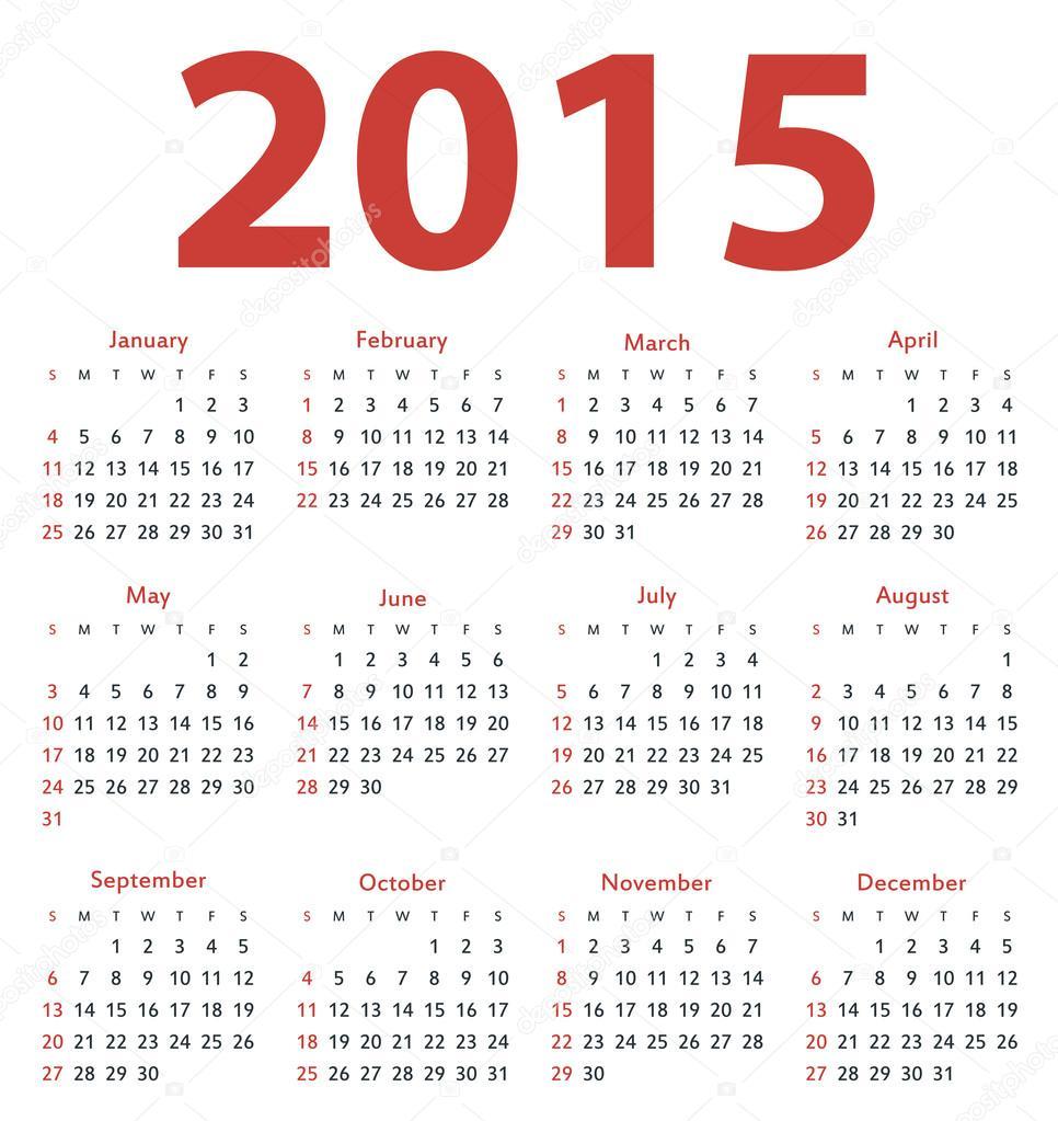 Calendario de vector año 2015 simple, plantilla — Archivo Imágenes ...