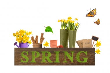Spring box with gardening items