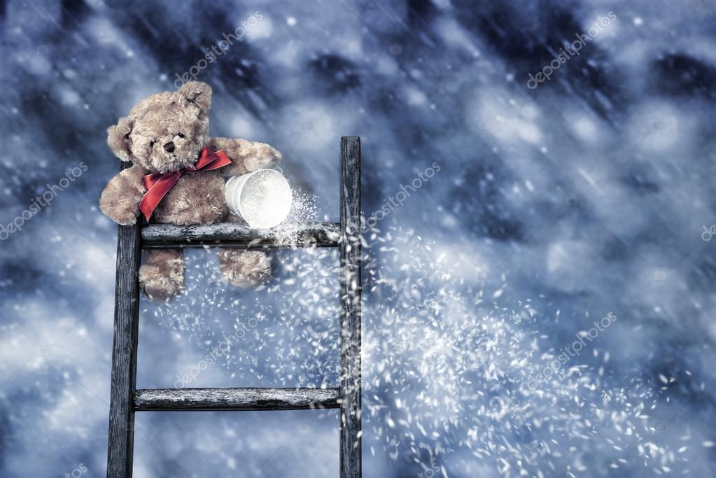 Teddy Throwing Snow