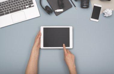 tablet office desk hero header