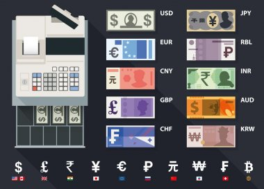 Top view cash register and currencies