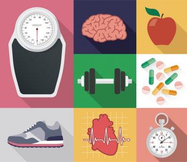 Flat vector diet and sport set