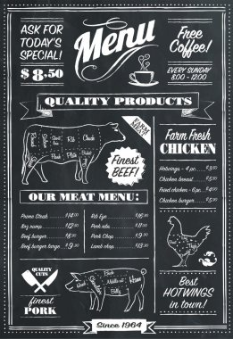 Vector Chalkboard menu