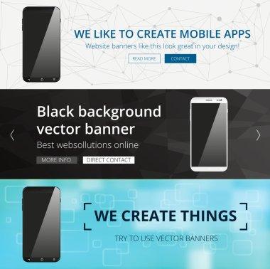 Vector smartphone website banner set