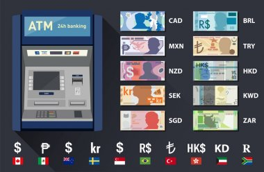 Set of different banknote currencies