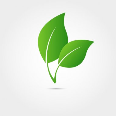 Eco icon with green leaf