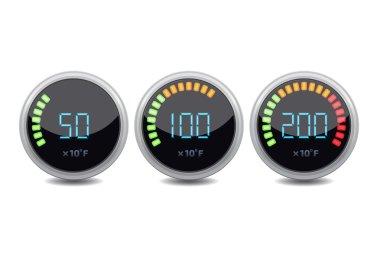Temperature gauge digital set. Vector icon. clip art vector