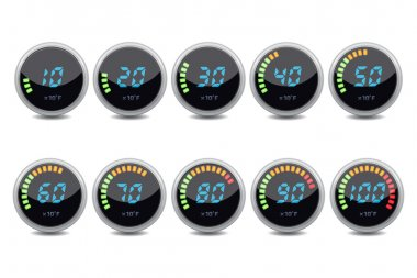Temperature gauge digital set vector illustration clip art vector