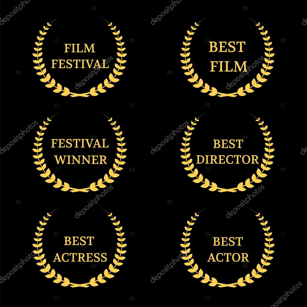 Vector Film Awards on black background stock vector
