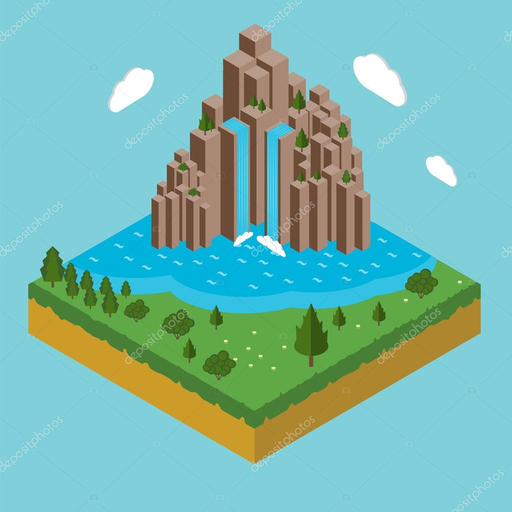 Isometric view of landscape