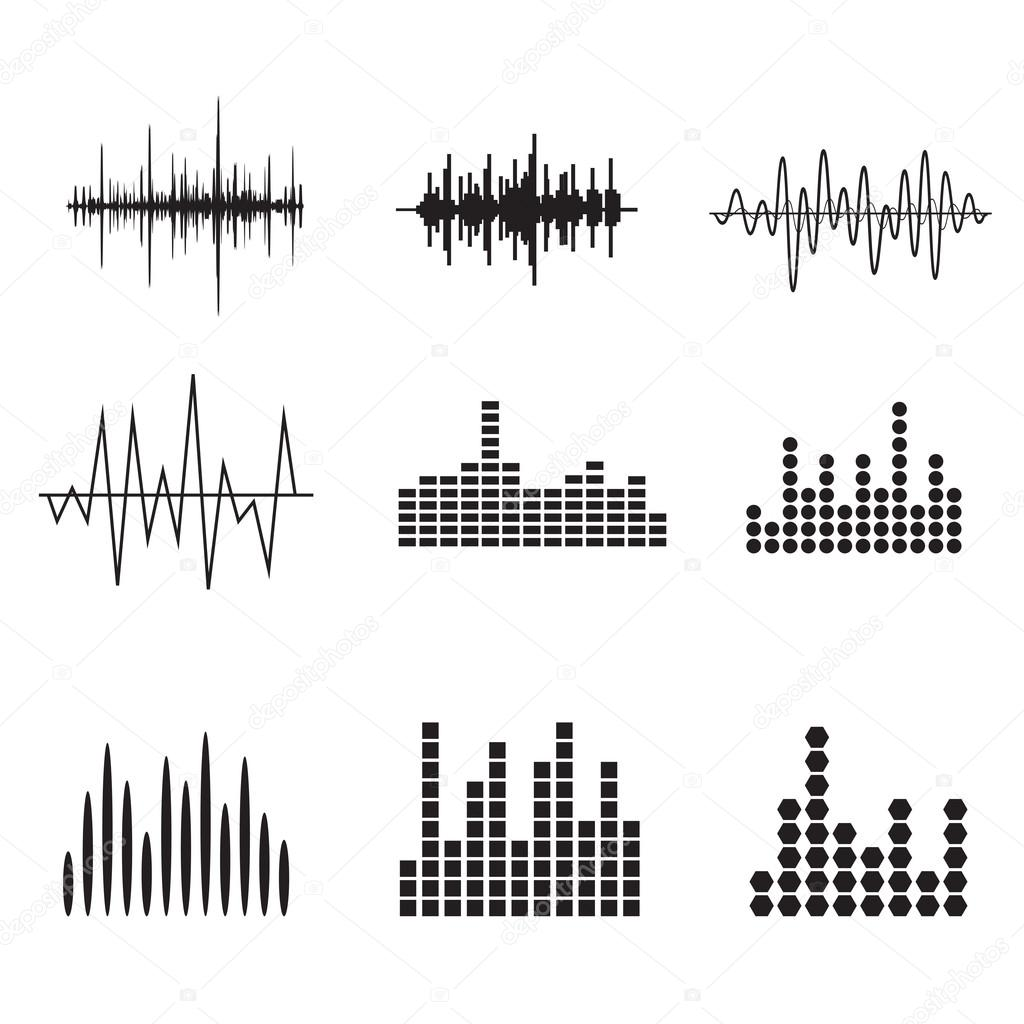 Vector Drawing Lines Unity : Music soundwave icons set — stock vector ansim