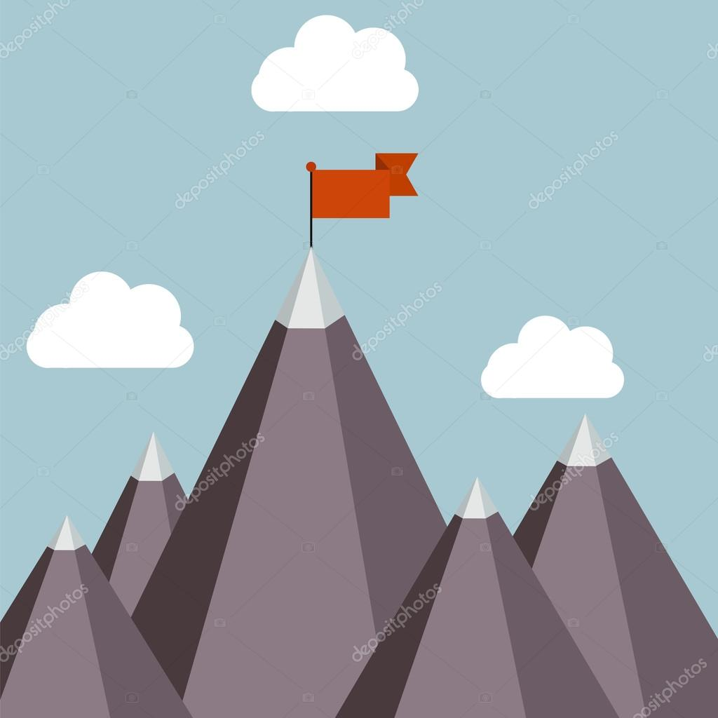 Mountain with red flag.