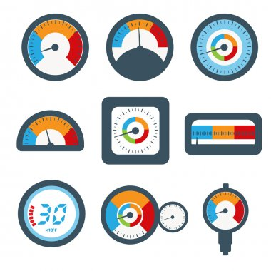 Temperature gauge set icons.