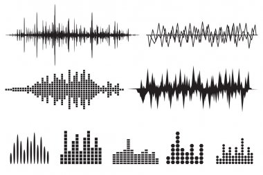 Music soundwave icons set againsy white background stock vector