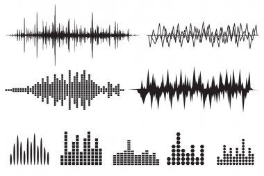 Music soundwave icons set.