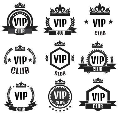 VIP club logos set