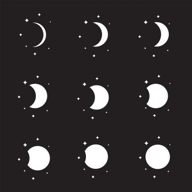 Moon phases silhouettes set