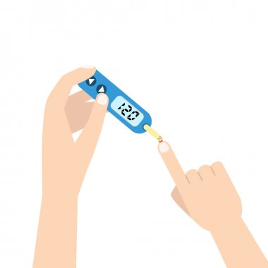 Home glucometer with hand.