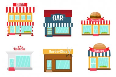 Shops icons set in flat design style.