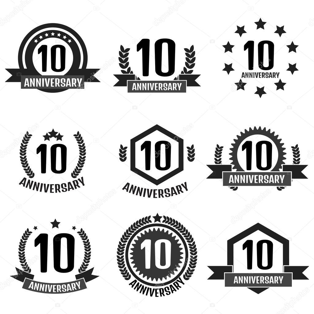 10 周年記念セット ロゴ — ストックベクター © AnSim #92543656