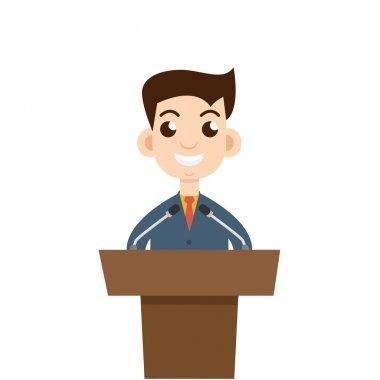 Public speaking, flat design.