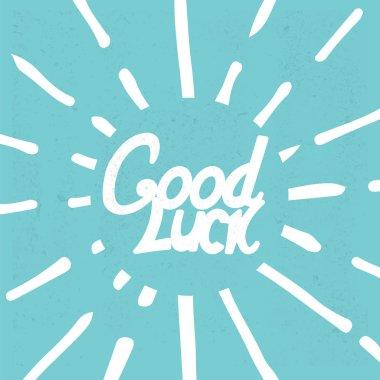 Good Luck Lettering on blue