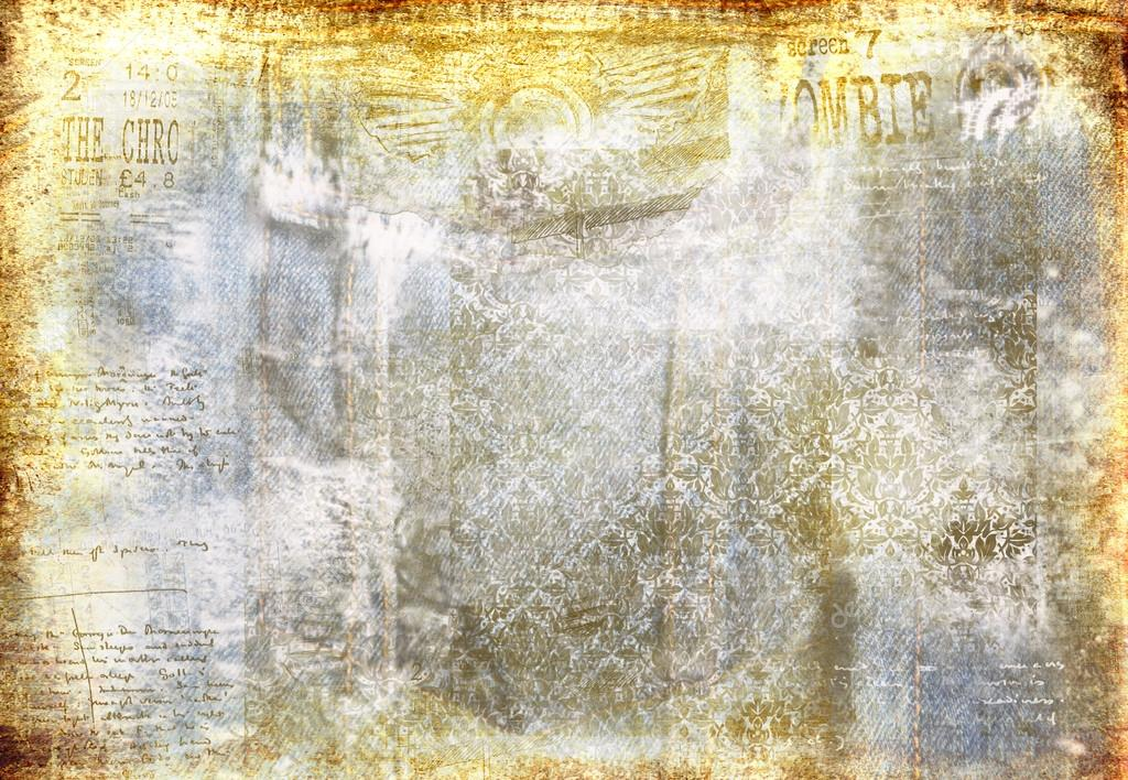 Grunge Denim Faded Background With Grunge Elements Stock Photo