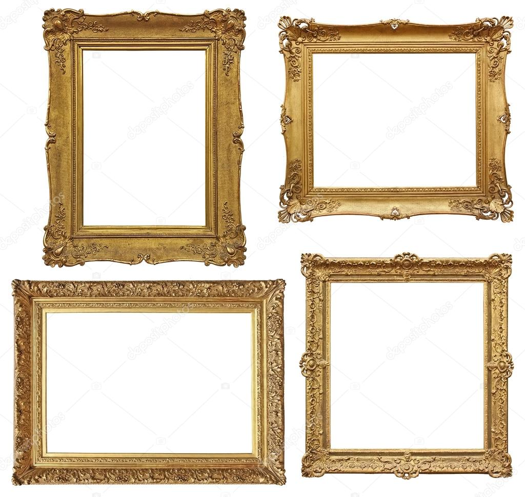 four golden baroque empty frames isolated in white stock photo rh depositphotos com  images of empty frames