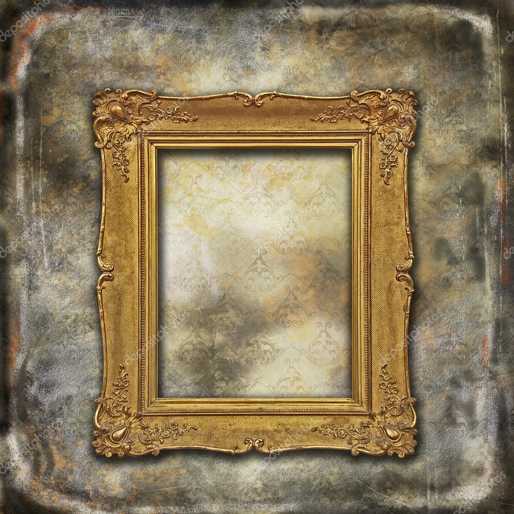 Oro revestido barroco vacío marco de madera de textura grunge se ...
