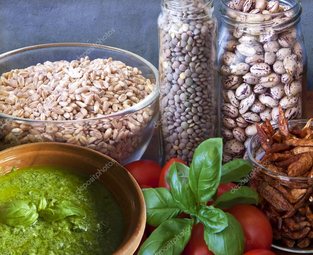 Vegan food, legumes and vegetables
