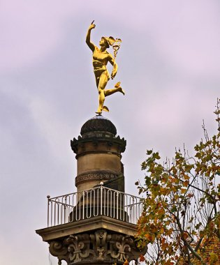 Stuttgart, Germany golden Hermes statue