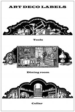 Collage of 3 art deco labels about home and maintenance