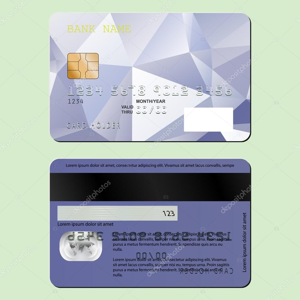 Template Design Of A Credit Card On The Front And Back