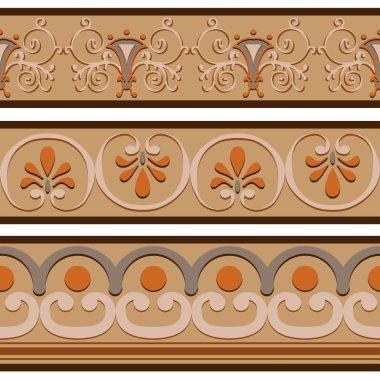 Set of ancient Roman ornaments  border patterns.