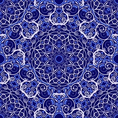 Seamless background of circular patterns. Navy blue ornament in ethnic style.