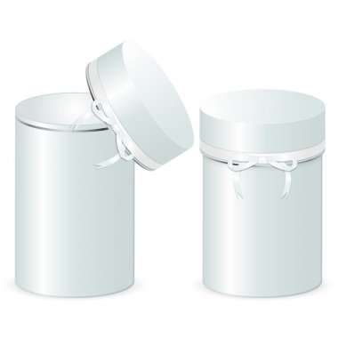 Set of two cylindrical gift boxes with a bow. Template of open and closed boxes isolated on a white background.