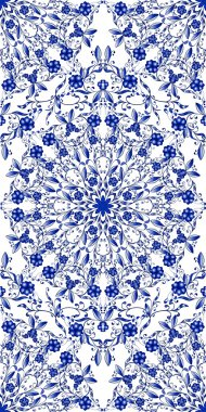 Seamless blue floral pattern. Background in the style of Chinese painting on porcelain.