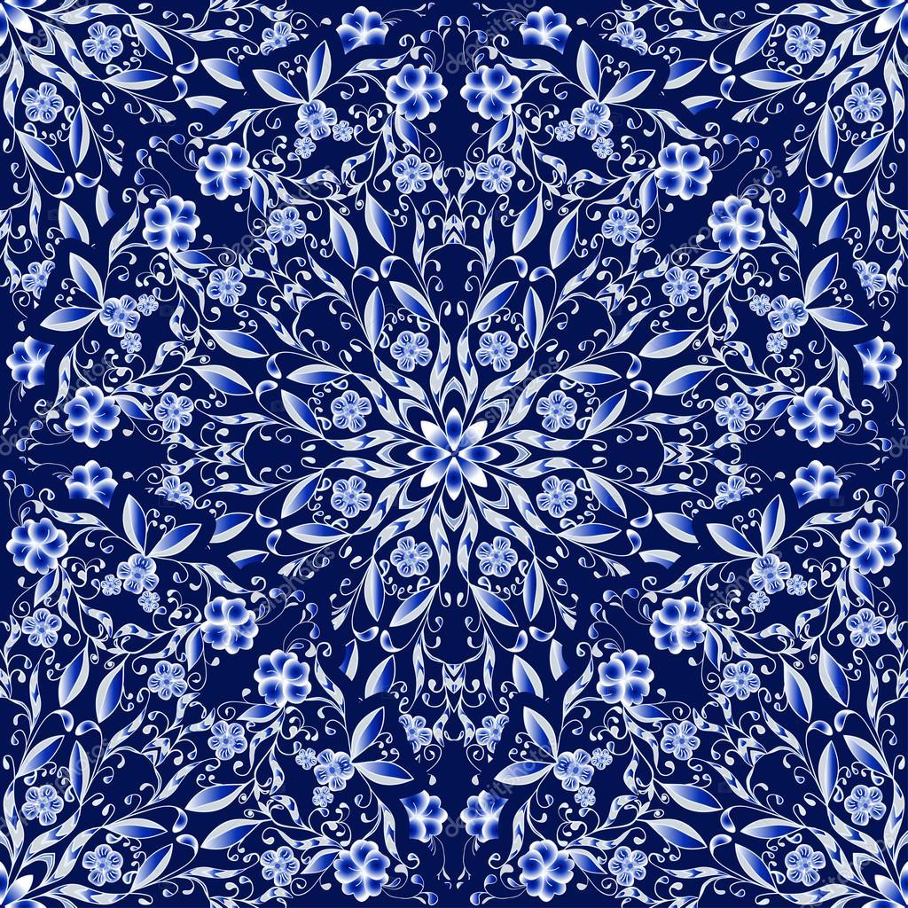Květinový vzor bezešvé kruhové ozdoby. tmavě modré pozadí ve stylu Čínská  malba na porcelánu. vektorové ilustrace — Vektor od ... 0910ebc336