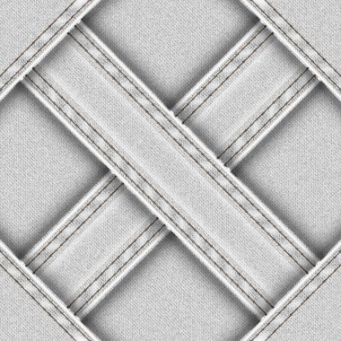 Light seamless background with denim sewn cross ribbons.