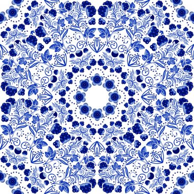 Seamless floral pattern. Blue ornament of berries and flowers in the style of Chinese painting on porcelain.