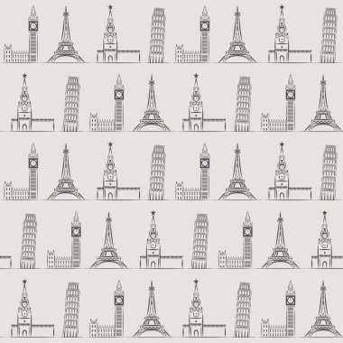 Seamless background or wallpaper with vacation, travel, attractions and famous places.