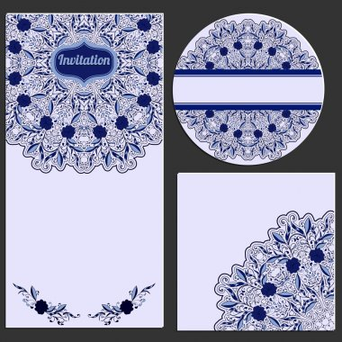 Set of invitation cards with beautiful pattern in the style of Chinese porcelain painting.