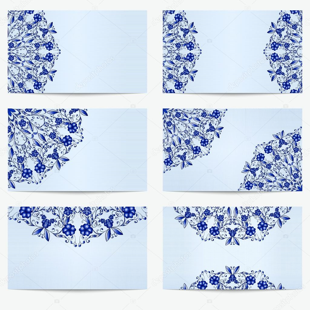 Set of business cards with beautiful pattern in the style of set of business cards with beautiful pattern in the style of chinese porcelain painting magicingreecefo Image collections
