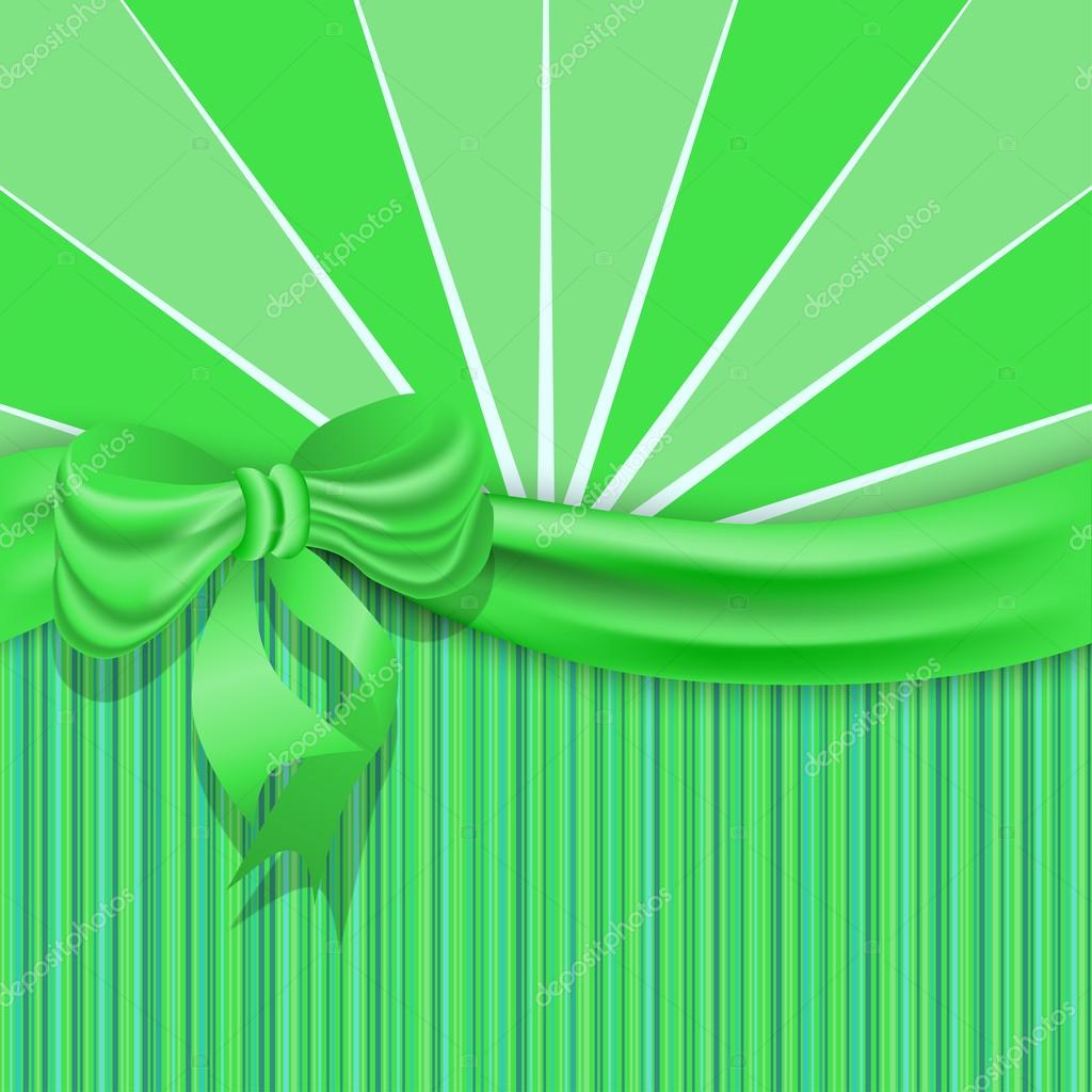 St.Patricks background with a green satin ribbon and bow.