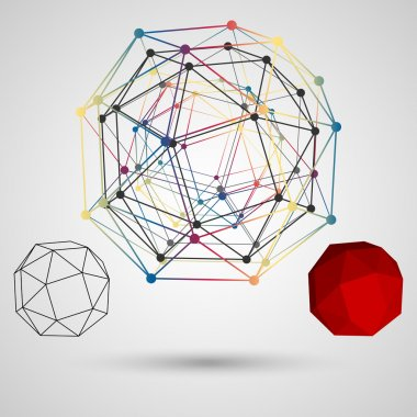 Colorful frame of the polygon with points at the vertices on a light background. Abstract geometric concept on the subject of science. Composition for your design.