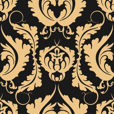 Vintage seamless pattern Damascus. Elegant large golden flowers on a dark background. Can be used to design fabrics, wallpaper, web page background.
