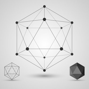 Frame volumetric geometric shapes with edges and vertices. Geometric scientific concept.