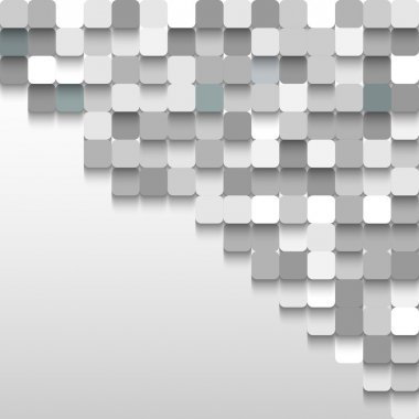 Abstract background of gray squares in the corner with space for text.