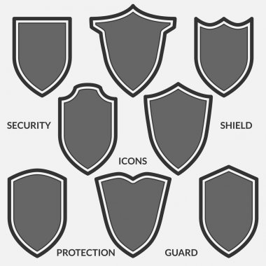 Set of shield icons. Monochrome security signs isolated on white background.