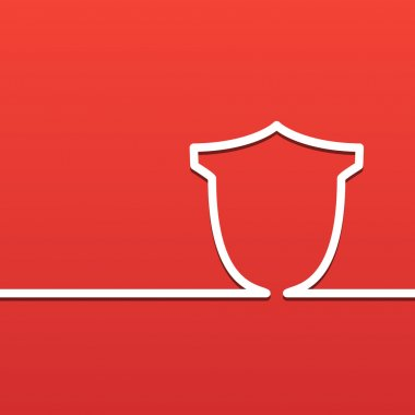 The sign the shield. Protection and Security icon on a red background.